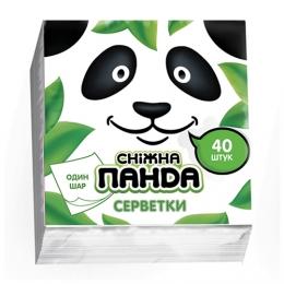 """Салфетки бумажные """"Снежная Панда"""" 1 слой 40 штук"""
