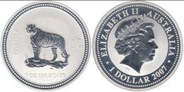 """Серебряная монета 1$ """"Восточный календарь - Год Тигра"""" Банк Австралии. 2007 г."""