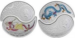 """Серебряная монета 2$ """"Драконы. Инь-янь"""" 2012 г."""