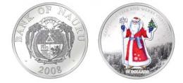 "Серебряная монета 10$  ""Дед Мороз"" Bank of Nauru 2008 г."