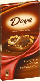 """Шоколад """"Dove"""" молочный с грецким орехом и грильяжем"""