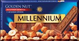 """Шоколад """"Millennium"""" Golden Nut Молочный с цельным миндалем"""