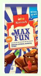 """Шоколад молочный с мармеладом, печеньем и взрывной карамелью """"Корона Max Fan"""""""