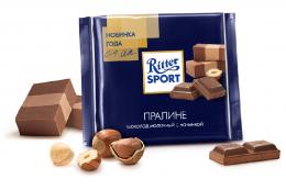 Шоколад Ritter Sport молочный с начинкой Пралине