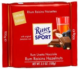 Шоколад Ritter Sport молочный с ямайским ромом, изюмом и дробленым фундуком