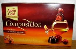 """Шоколадные конфеты """"Alpen Gold Composition"""" с вишней в коньяке в темном шоколаде"""