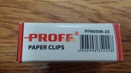 Скрепки металлические никелированные Proff Paper Clips PFN0506-25