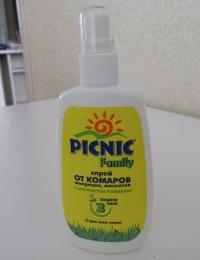Спрей от комаров, мокрецов,москитов Picnic Family с экстрактом ромашки