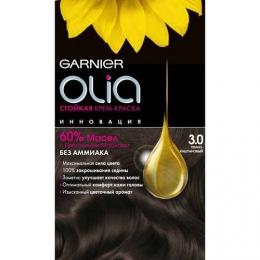 Стойкая крем-краска Garnier Olia без аммиака с цветочными маслами тон 3.0 темно-каштановый