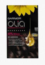 Стойкая крем-краска Garnier Olia без аммиака с цветочными маслами тон 5.0 светлый шатен