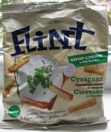 Сухарики пшенично-ржаные со вкусом сметаны с зеленью Flint Sour Cream with Herbs