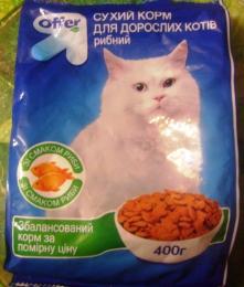 Сухой корм для взрослых котов рыбный Offer со вкусом рыбы