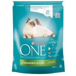 Сухой корм Purina One для домашних кошек с индейкой и цельными злаками