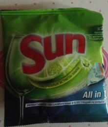 Таблетки для мытья посуды в посудомоечных машинах SUN All in 1 с экстрактом лимона
