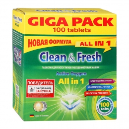Таблетки для посудомоечных машин Clean & Fresh Active Oxygen All in 1