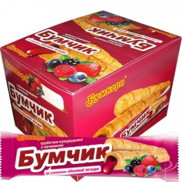 """Трубочки кукурузные с начинкой """"Бумчик"""" Бумкорн со вкусом лесной ягоды"""