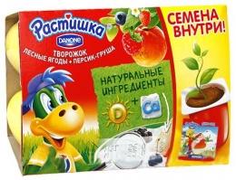 """Творожок Растишка Danone """"Лесные ягоды+Персик-груша"""""""