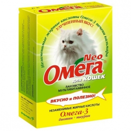 "Лакомство мультивитаминное для кошек ""Omega Neo"" Омега-3 биотин+таурин"