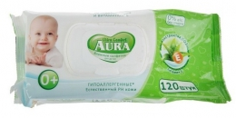 Влажные салфетки для детей гипоаллергенные Aura ultra comfort с экстрактом алоэ и витамином Е