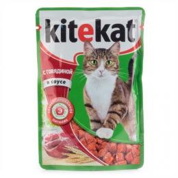 """Влажный корм для кошек """"Kitekat"""" с говядиной в соусе"""