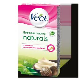 Восковые полоски Veet Naturals для рук и ног с маслом ши для нормальной и сухой кожи