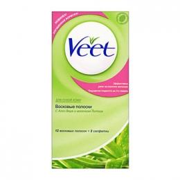 """Восковые полоски """"Veet"""" с Алоэ Вера и ароматом Лотоса для сухой кожи"""
