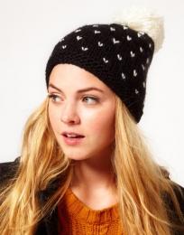 Вязаная шапка с помпоном Miss Pom Pom, черная в белую крапинку