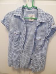 Женская рубашка H&M L.O.G.G. с коротким рукавом, в бело-голубую клетку