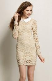 Женское платье Wiseme fashion women's dresses Fashion ladies lapel lace Slim dress