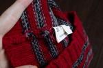 """Внутренние швы шапки """"Desam"""" полосатой красно-серой"""