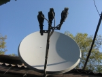 на спутниковой антенне