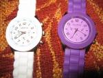 Наручные часы с силиконовым ремешком Geneva, белыечасы, фиолетовые часы