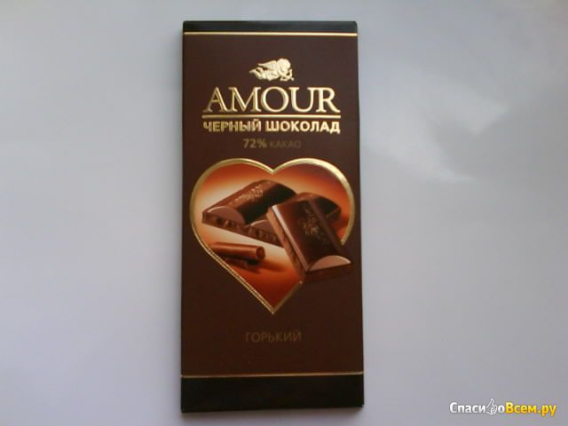 "Чёрный шоколад Konti ""Amour"" горький 72% какао"