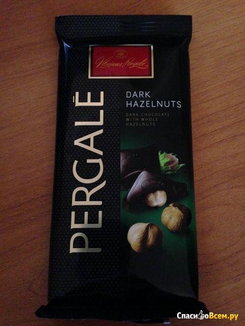"""Шоколад """"Pergale"""" горький с цельным лесным орехом фото"""