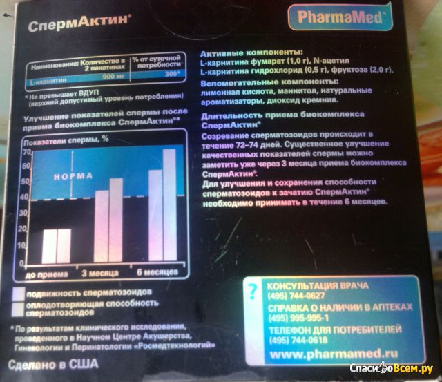 Средство для улучшения подвижности сперматозоидов Man's formula Спермактин фото