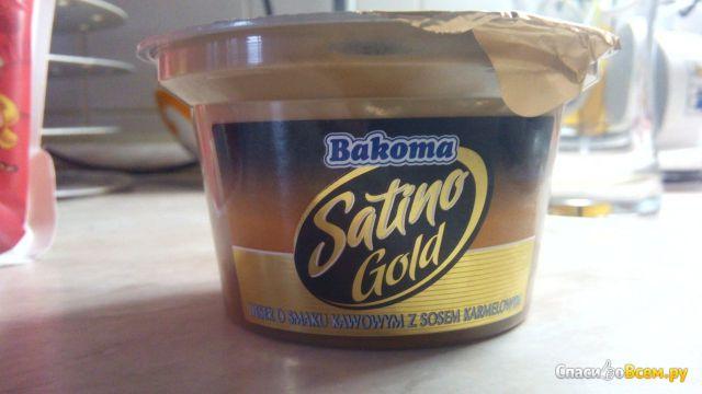 """Десерт Bakoma """"Satino Gold"""" молочный кофейный с карамельным соусом 6,5% фото"""