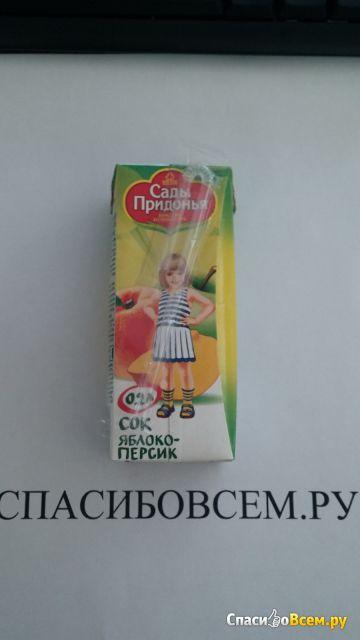 """Сок """"Сады Придонья"""" яблоко и персик с мякотью фото"""