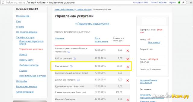 Тарифный план Smart mini (МТС Ростовская область)