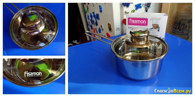 Ковш со стеклянной крышкой Fissman Bambino 0.6 л SS-5270.12 фото