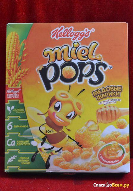 """Готовый завтрак из злаков """"Медовые шарики"""" Miel Pops Kellogg's фото"""