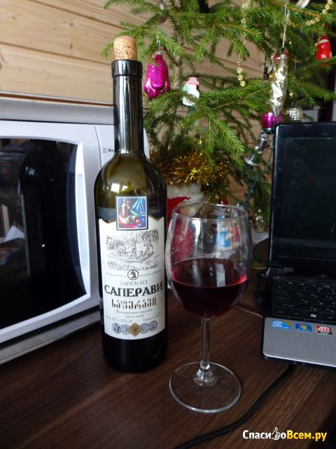 """Вино столовое красное сухое """"Саперави"""" Грузинские вина фото"""