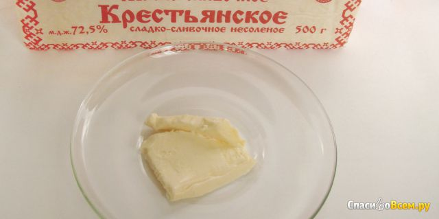 """Масло сладко-сливочное несоленое """"Крестьянское"""" 72,5% """"Лав Продукт"""""""