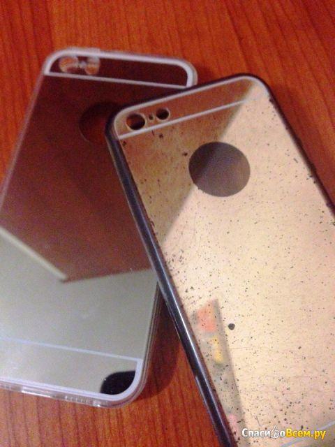 Зеркальный силиконовый бампер-чехол Antecase Ultra Slim Gold Mirror Case для iPhone 5/5S фото