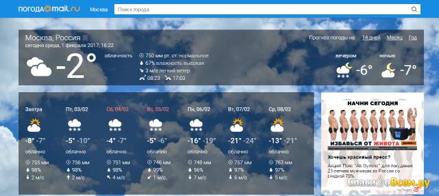 Онлайн-сервис Погода@mail.ru