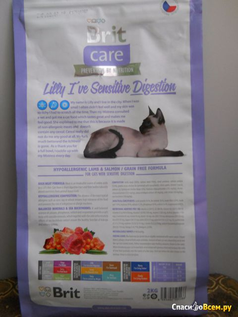 Сухой корм для кошек Brit Care Lilly Sensitive Digestion гипоаллергенный с ягненком и лососем фото
