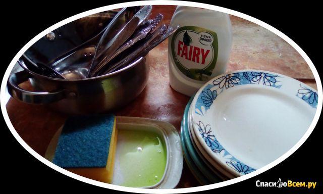 Средство для мытья посуды Fairy Зелёное яблоко Пена эффект фото