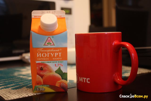 "Йогурт ""Пискарёвский"" Абрикос-манго 1,7% фото"