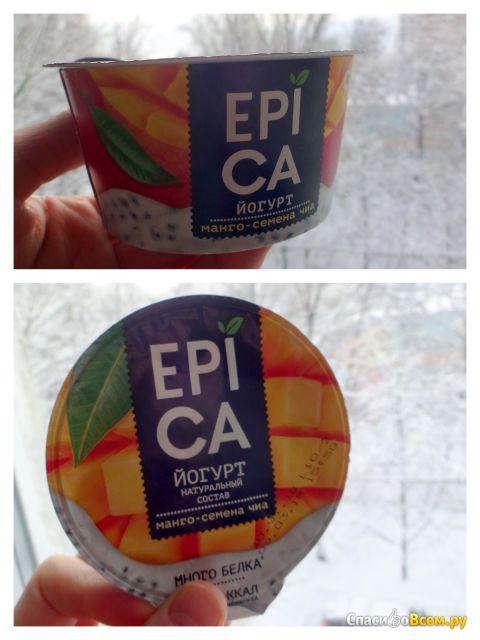 Йогурт высокобелковый Epica манго - семена чиа 5% фото