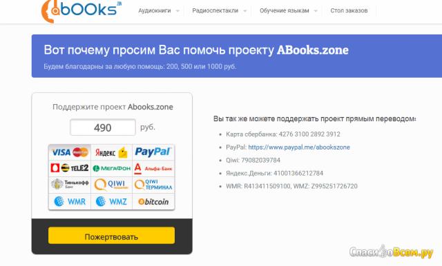 Электронная библиотека бесплатных аудиокниг Abooks.zone фото