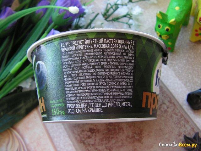 """Продукт йогуртный пастеризованный с черникой Fruttis """"Протеин"""" массовая доля жира 4,5% фото"""